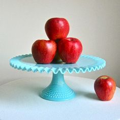 hobnail ~ turquoise cake platter