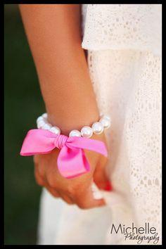Little Girls Pearl Bracelet with ribbon for flower girls