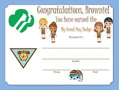 Brownie My Great Day Badge Certificate