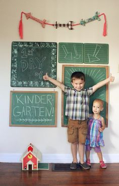 How cute is this first day of school photo shoot!  Perfect for documenting all sorts of special events.  Just write about it on the chalkboard!