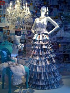 window display at the Neiman Marcus in Dallas of a dress made out of christmas greeting cards