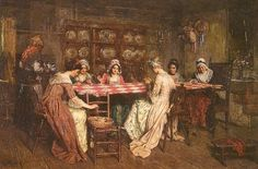 "A quilting party. Cooperative quilting was not referred to as a ""bee"" until the 19th century."