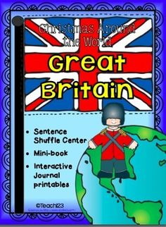 Christmas Around the World - Great Britain - Sentence Shuffle Trio:  interactive journal printables, fluency center, and mini book.  $