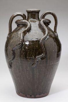 NC Pottery Double Snake Jug, Burlon Craig