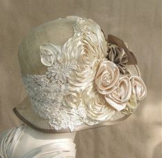 Love the colors fabric roses, silk flowers, 1920s style, shabby chic, vintage hats, cloche hats, wedding hats, craft studios, vintage style