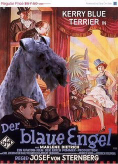 ON SALE Kerry Blue Terrier Vintage Movie Style by NobilityDogs, $54.50