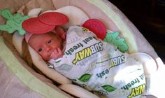 Infant/Baby subway sandwich halloween costume! Just wrap the subway wrapper around their blanket and add some paper tomatoes/lettuce cut outs around them. #Funny #Creative #Baby costume