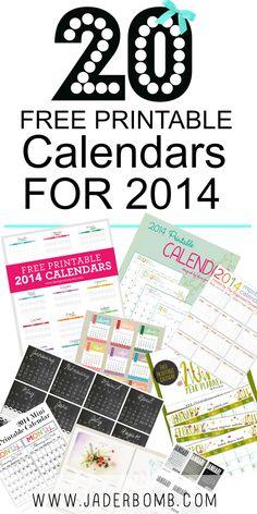 20 FREE PRINTABLE CALENDARS 2014 - WWW.JADERBOMB.COM