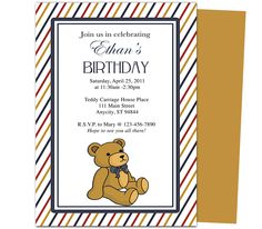 Kids Party Templates : Cutie Bear Kids Birthday Party Invitations Template. Printable DIY, easy to edit and print.