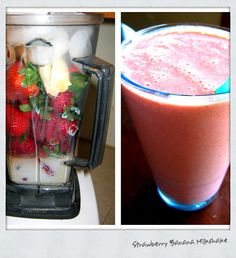 Strawberry Banana Milkshake... healthy and yummy and NO ice cream involved!