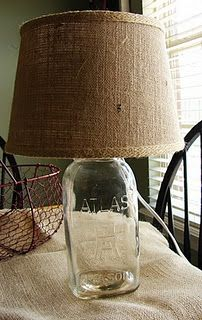TUTORIAL: JAR LAMP WITH BURLAP LAMPSHADE (so many design possibilities for size, shape, filler, & decor)