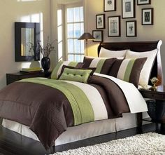 Brown and Green Bedroom ideas love the picture frames above the bed