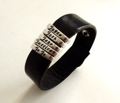 Personalized Leather Strap Fork Tine Silverware Bracelet-Silverware Jewelry