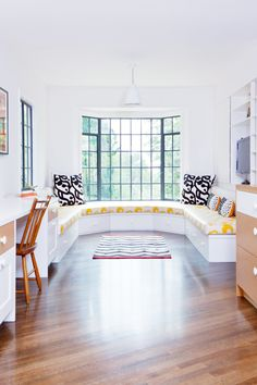 Tour a Bright, Fresh LA Family Home // banquette, Marimekko, yellow fabric