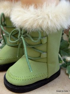 "Olive Green Suede Fur Trimmed Boots Shoes for 18"" Girl Doll from American Seller 