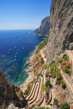 Cliff Side Trail, Isle of Capri, Italy Bay of Naples