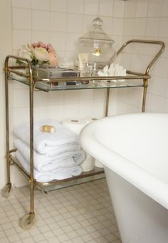 Love this bar cart in the bathroom    Clementine and Olive Life Style Blog: see my casa
