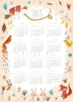 2013 Calendar, Animal Calendar