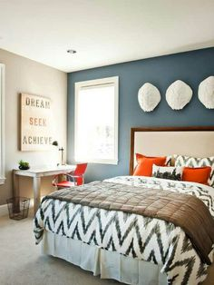 Like the dark accent wall w/ the lighter gray for the master bedroom