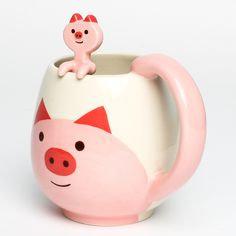 Pig Round Mug & Spoon Set #cute