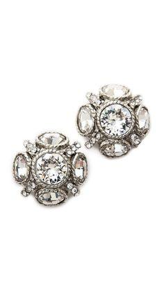 classic button earrings / oscar de la renta