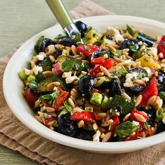 Recipe for Whole Wheat Orzo and Grilled Vegetable Salad with Feta, Olives, and Herbs from Kalyn's Kitchen
