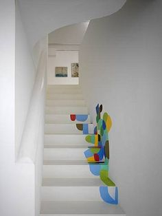 color art, basement stairs, stairway, paint designs, hous