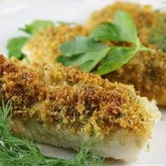 "Cod with Italian Crumb Topping | ""This was delicious and keeping it low fat is the key! I did add a bit more italian seasoning. Came out great! Green beans and cous cous make a super easy week day meal. Thank you!"" cod recipes easy, food, italian crumb, crumb top, very low fat recipes, dinner tonight, bread crumbs"