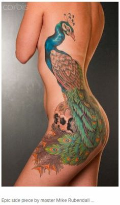 Color peacock side tattoo by Mike Rubendall