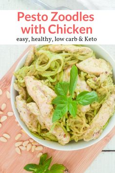 These amazing creamy Pesto zucchini noodles with chicken make the most delicious healthy and low carb dinner. Easy to make, filling, and great for meal prep. This healthy recipe from Slender Kitchen has 5 Freestyle Smartpoints and is gluten free. #dinner #kidfriendly #quickandeasy