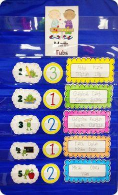 Math Tubs - K/1 charts, math centers, math rotations, boxes, first grade math tubs, math groups, math tubs kindergarten, math boards, math idea
