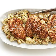 Pecan-Crusted Chicken and Tortellini with Herbed Butter Sauce | Add finely chopped pecans to the breading for your chicken cutlets. The crunch of the pecans creates a great texture. | #Recipes | SouthernLiving.com