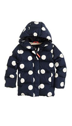 Polka dot puffer coat