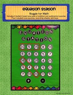 Equation Station Boggle for Math Set 1 Addition/Subtraction from Griffith's 3rd Grade Garden on TeachersNotebook.com -  - Equation Station - Students search for equations verticality, horizontally, and diagonally.  Similar to Boggle or a word search, but using math equations.