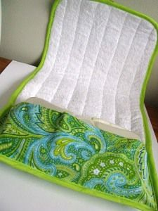 Sewing project - Diaper Wallet. I like the fold out mat. Great idea.