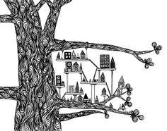 ink pen drawings, tree houses, black pen drawing, art prints, treehous citi, doodle art of trees, black white art