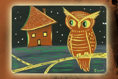 Haunted House Owl, Vintage Halloween Inspired Original Painting