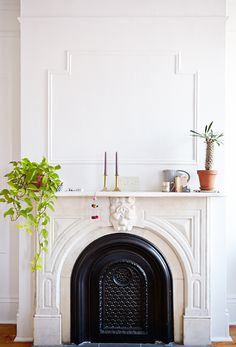 Beautiful mantle and fireplave. Bright Brooklyn, New York, home tour / sfgirlbybay