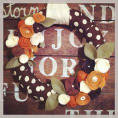 Fall wreath, autumn wreath, Thanksgiving wreath, polka dot wreath on Etsy, $38.00