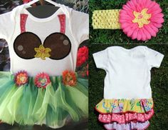 Hawaiian Hula Coconut Bikini Onsie Outfit with Hibiscus Flower Headband for Baby Girl