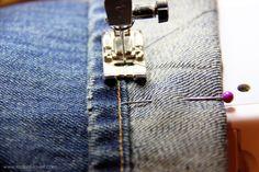 hem jeans and keep original hem