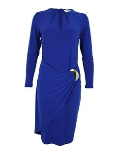 A timeless figure-skimming dress by Joseph Ribkoff gathered to a flattering side tie where a gleaming buckle detail adds chic allure. #josephribkoff #fashion