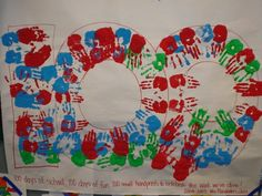 100th day Idea  100 hand prints or 100 fingers....either way you can go