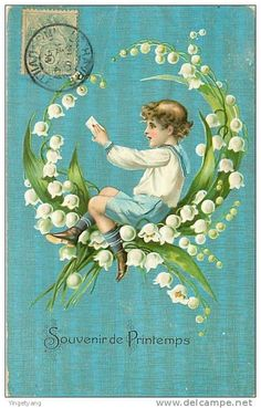 Antique French card, muguet/ lily of the valley