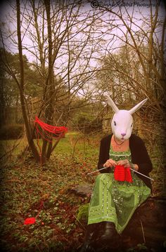 knit rabbit, mask, yarn