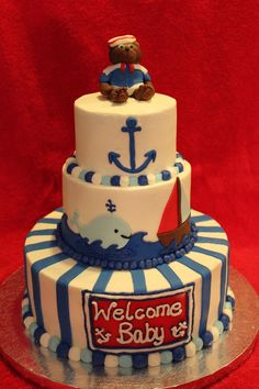 {Nautical themed baby shower cake} @Kourtney Lavin Lavin Lavin Lavin Lavin omfgggggg I love this