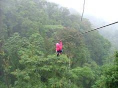 Zipline over the rainforest in Costa Rica