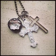 HOPE Shabby Chic Cross Necklace, $36.00
