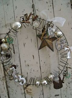 Christmas wire junk wreath