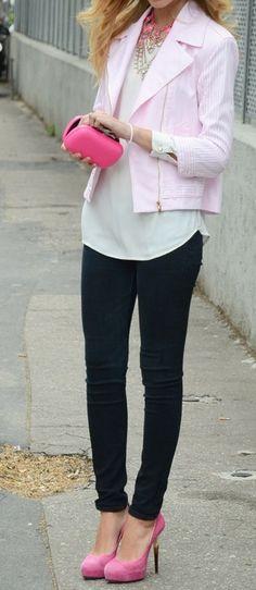 Black skinnies with pink